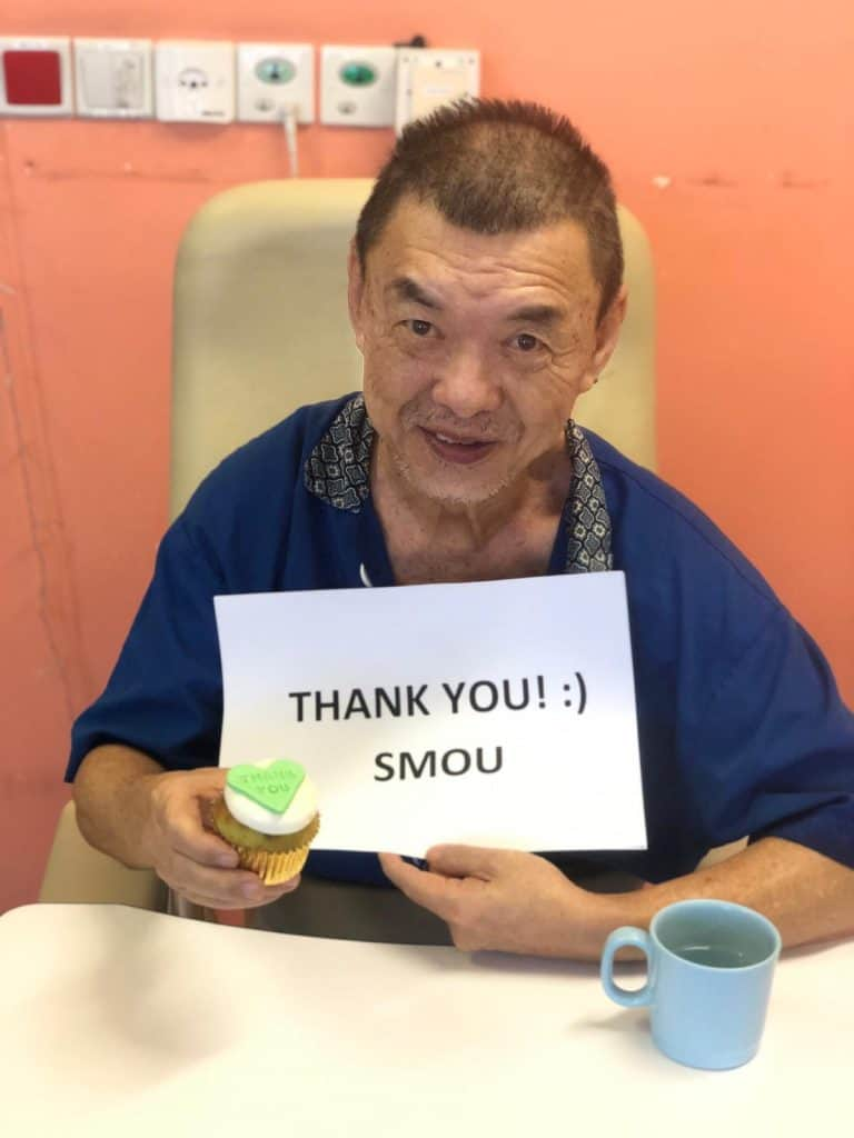 In conjunction of World Senior Citizen's Day, SMOU also delivered over cupcakes and bento sets to over 170 residents of NTUC Health Nursing Home (Jurong West)